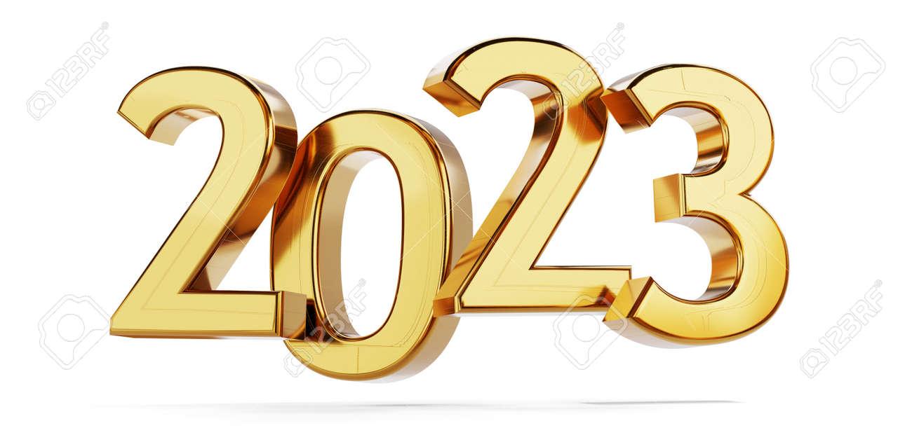 2023 golden bold letters symbol 3d illustration - 169664614