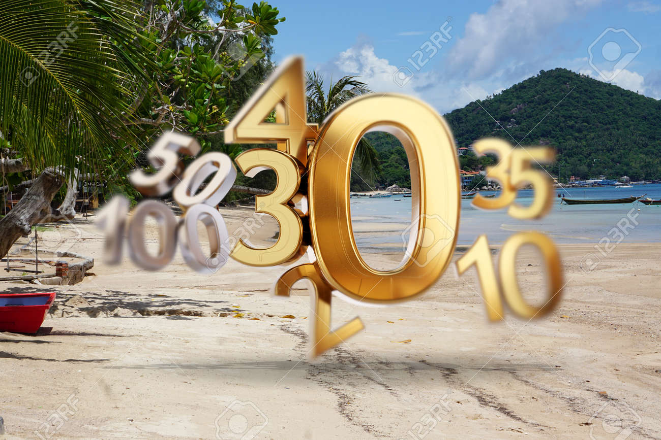 beach background of Koh Tao in Thailand at the Sairee Beach and golden zero symbol. and changing number as 20, 30, 40 as incidences 3d-illustration - 169664617
