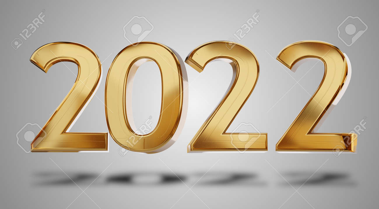 2022 golden bold letters 3d illustration metallic glossy design - 169664573