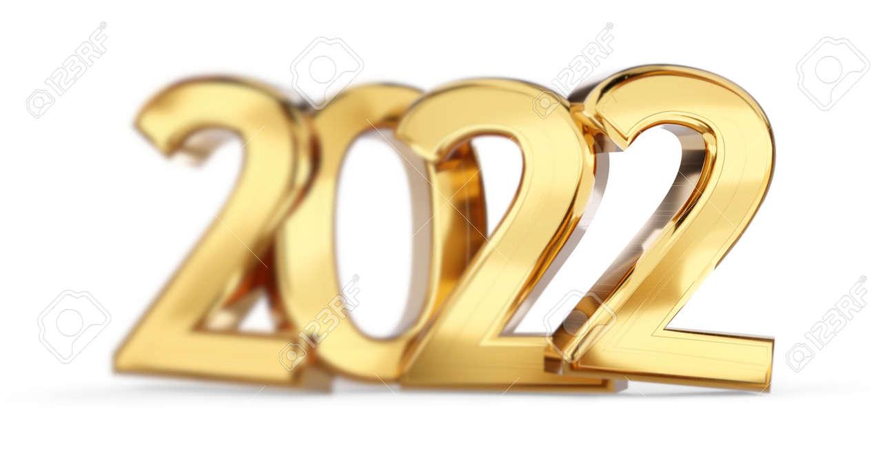 blurred 2022 golden bold letters symbol 3d illustration - 169664580