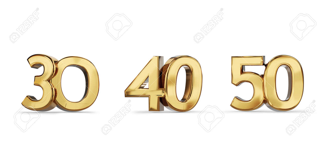 30 and 40 and 50 golden bold letters symbol 3d illustration - 169845234