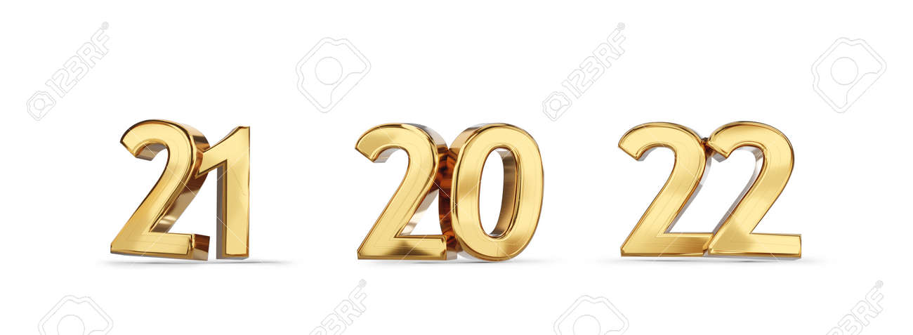 21 and 20 and 22 golden bold letters symbol 3d illustration - 169845235