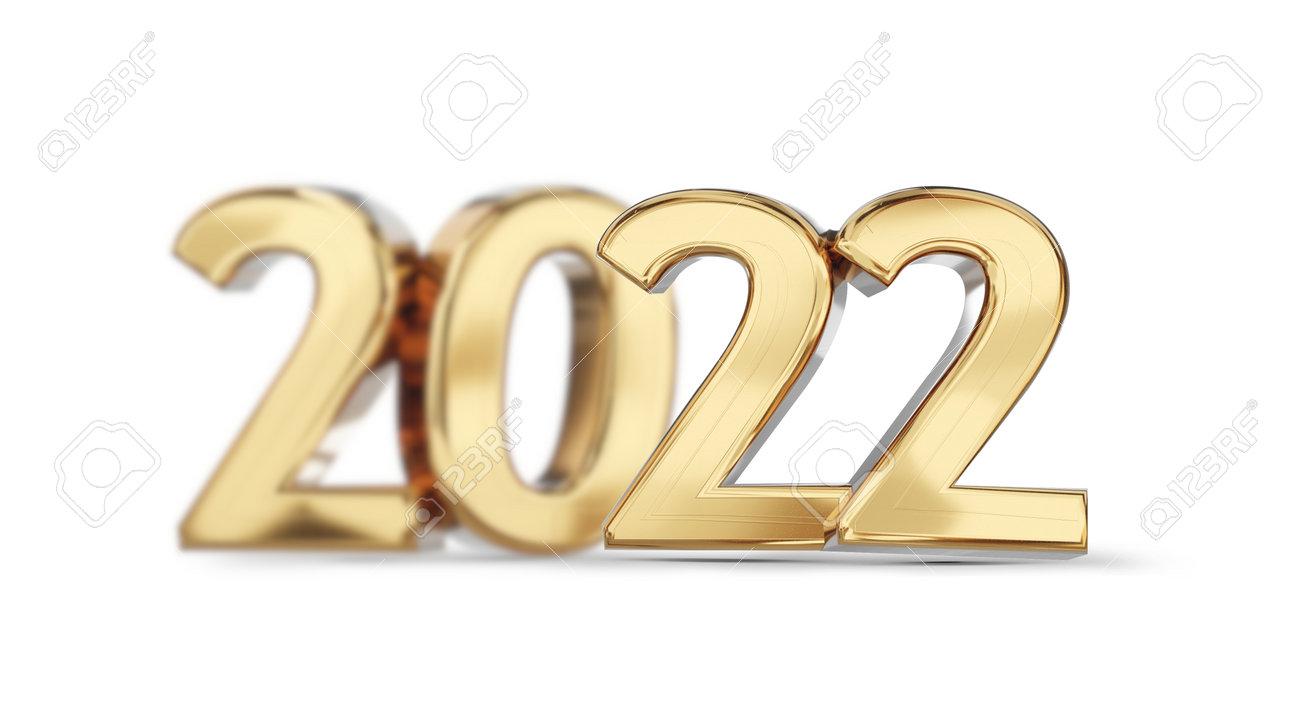 2022 golden bold letters symbol 3d illustration - 169845237