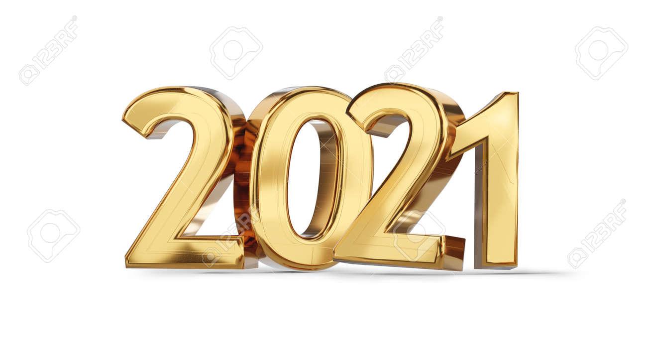 2021 golden bold letters symbol 3d illustration - 169845238