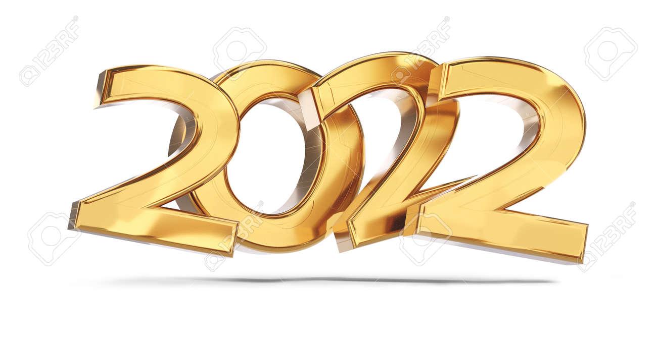 2022 golden bold letters symbol 3d illustration - 169845240