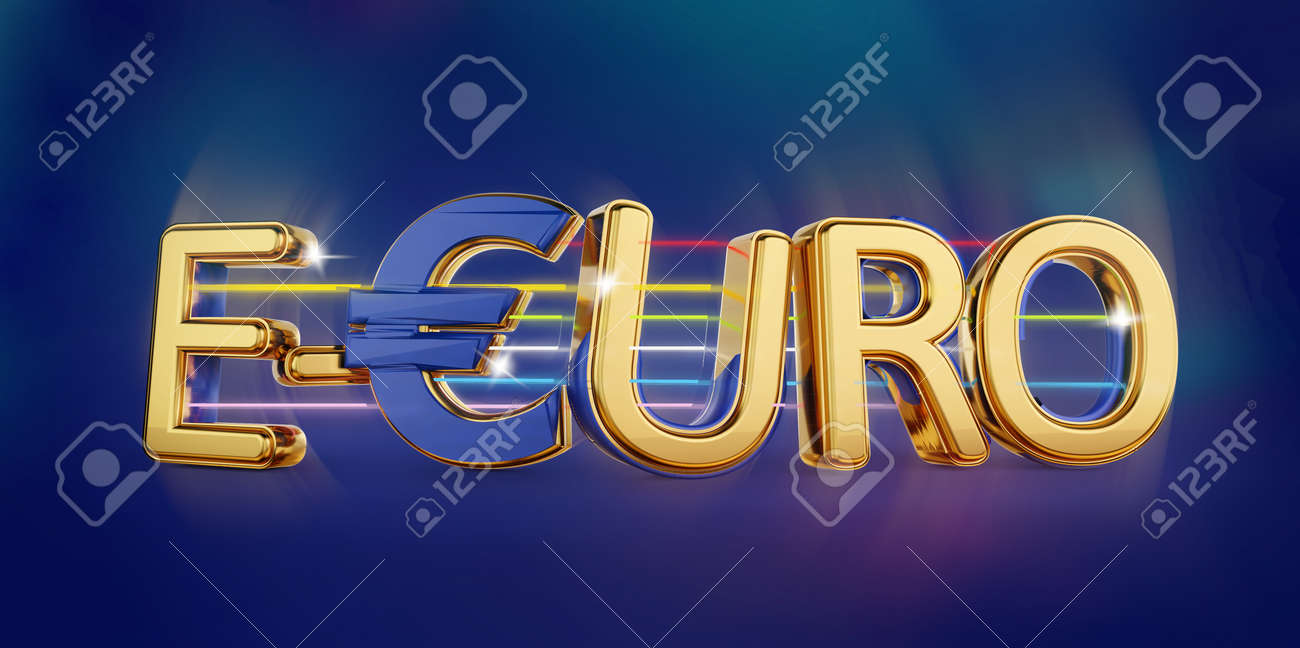 e-Euro golden bold letters symbolic digital currency of Europe 3d-illustration - 170168884