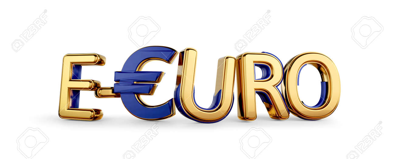 e-Euro golden bold letters symbolic digital currency of Europe 3d-illustration - 170168887