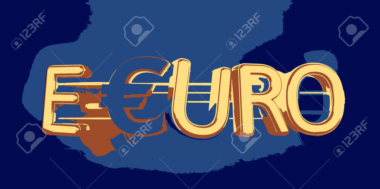 e-Euro golden bold letters symbolic digital currency of Europe 3d-illustration - 170168888