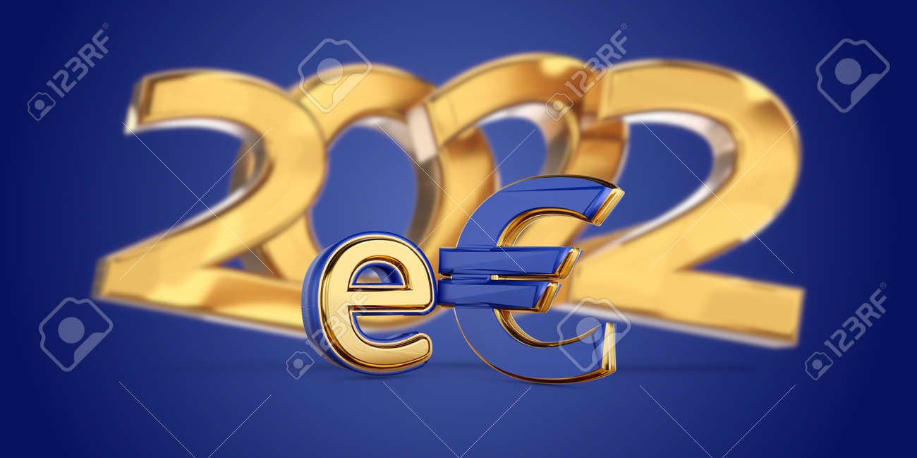 2022 symbolic golden E-Euro as Euro Coin, digital currency of Europe 3d-illustration - 170150397