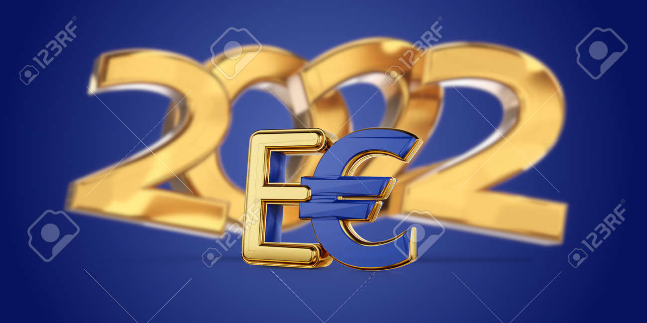 2022 symbolic golden E-Euro as Euro Coin, digital currency of Europe 3d-illustration - 170149906