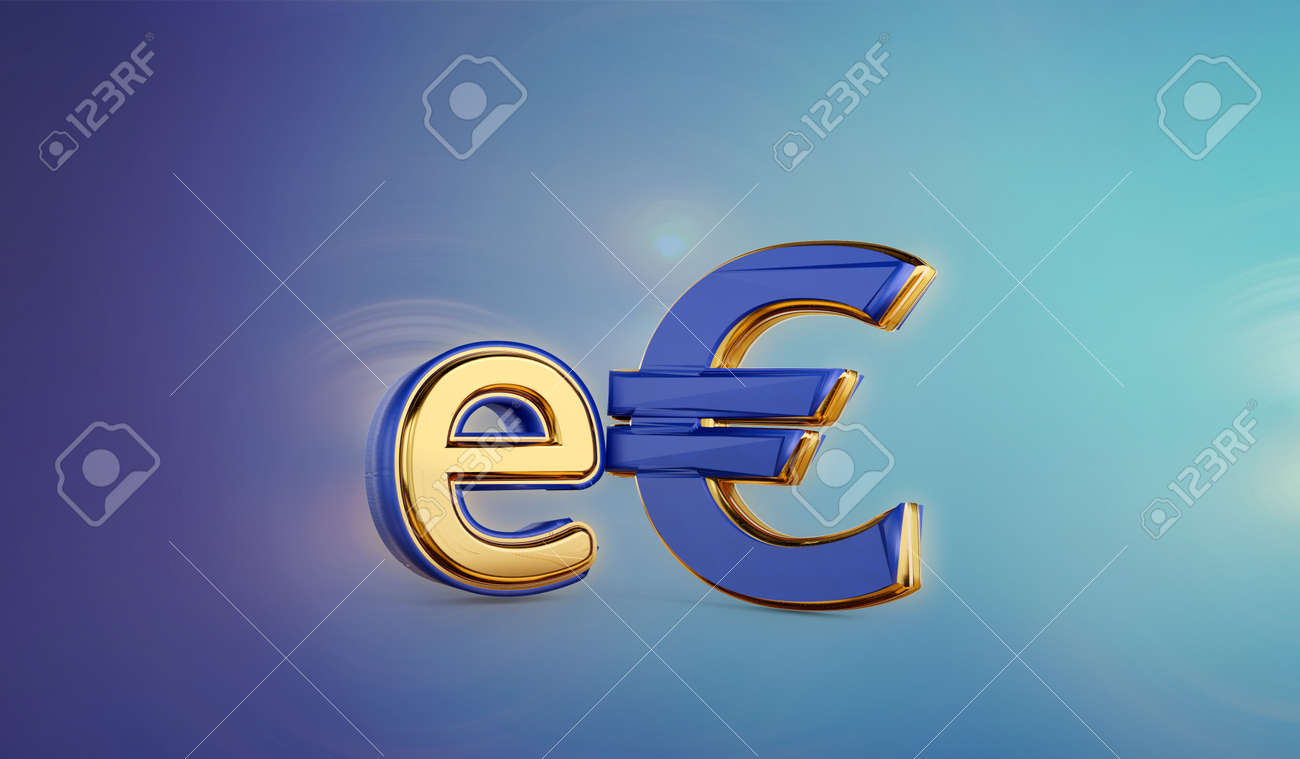 symbolic golden E-Euro as Euro Coin, digital currency of Europe 3d-illustration - 170150933