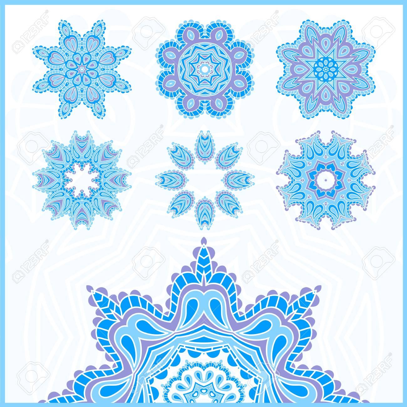 Big Set Of Christmas Snowflakes, Circular Blue Ornaments. Vintage ...