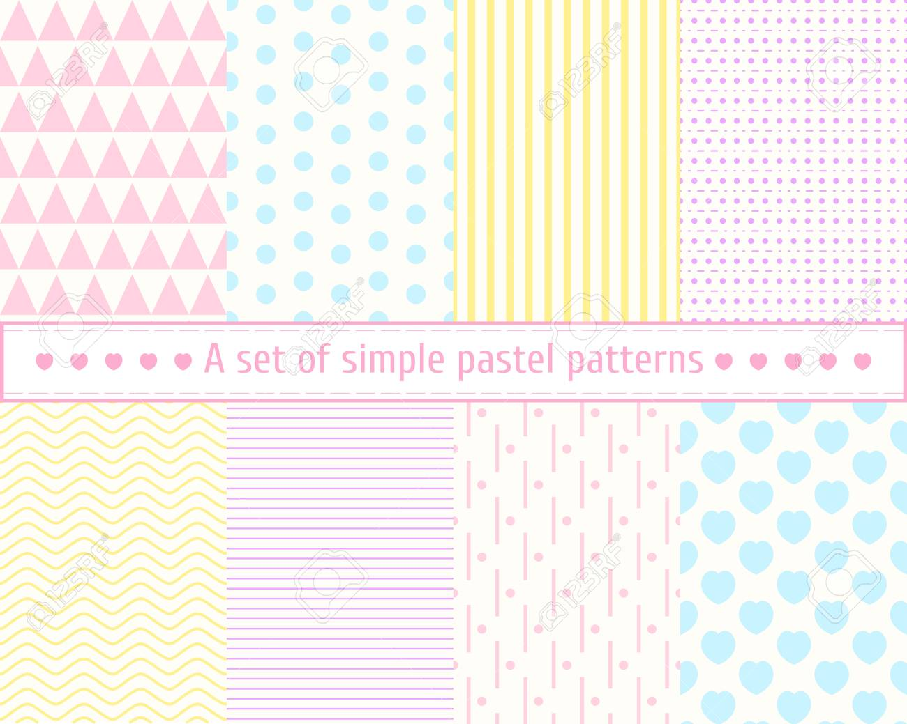 set pastel seamless patterns gentle simple concise patterns
