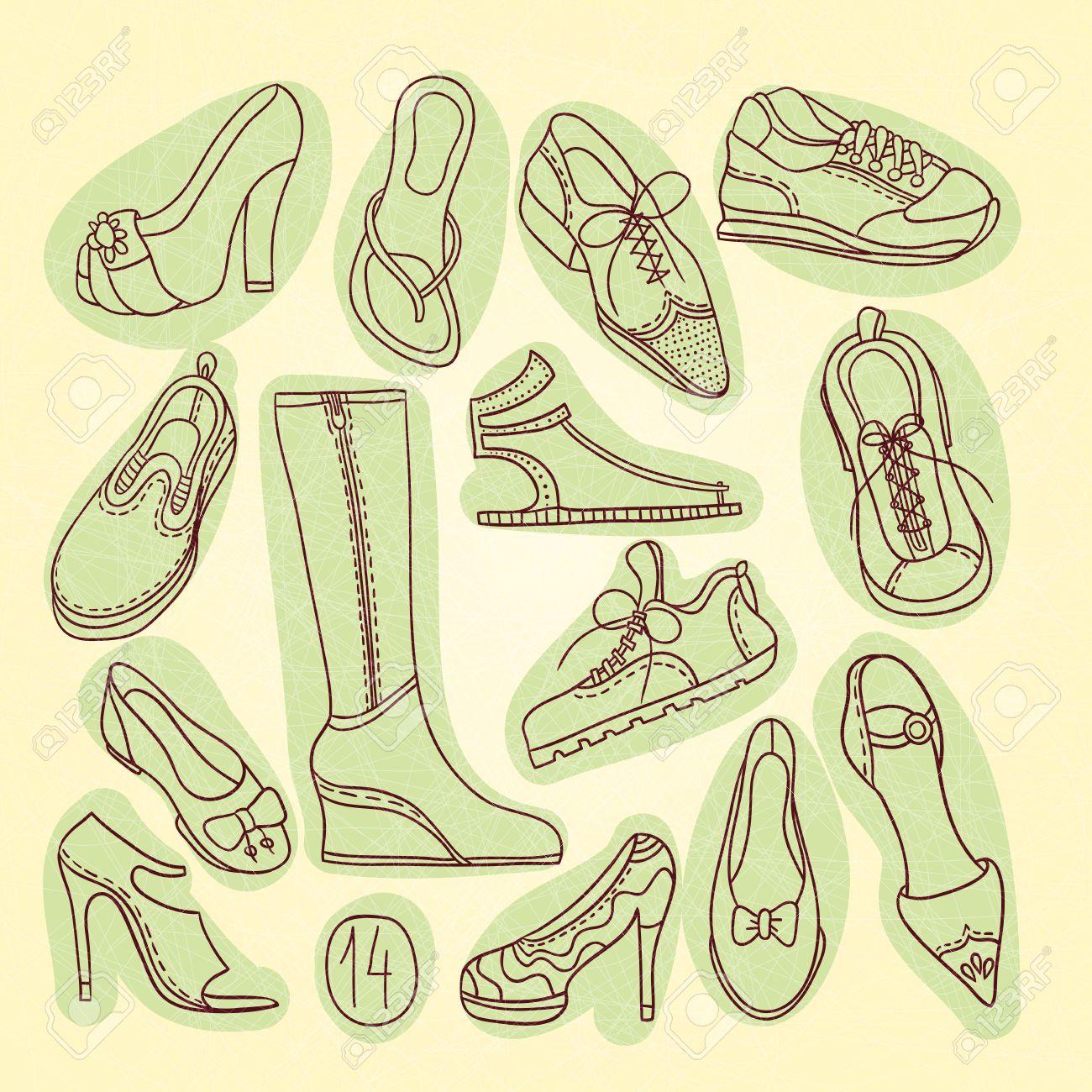 Big set hautsChaussures levée14 paires talons femme différentesVector main illustrationDessin à de à chaussuresChaussures de chaussures OiTXZuPk