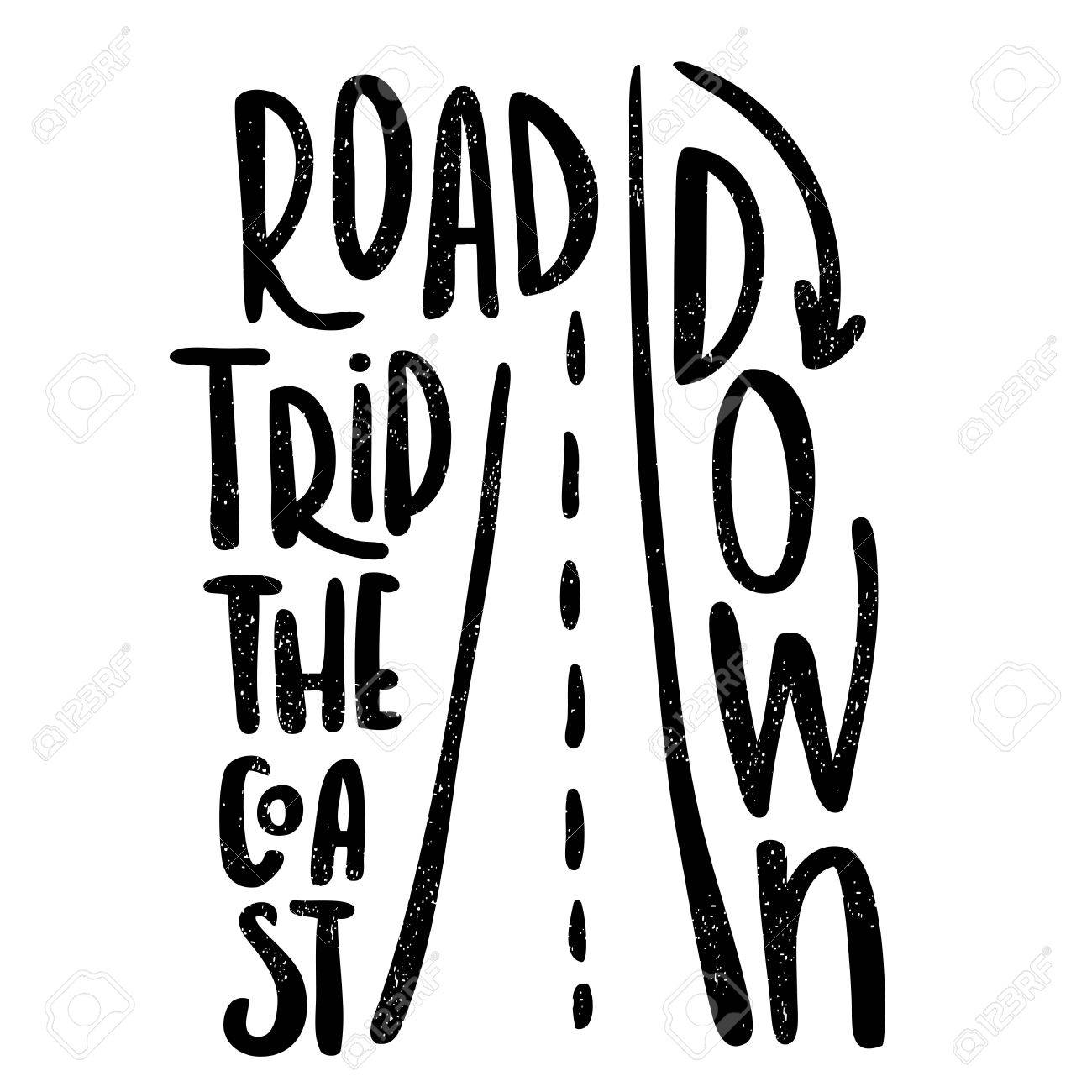 Road trip down the coast black white lettering decorative road trip down the coast black white lettering decorative letter hand drawn altavistaventures Choice Image