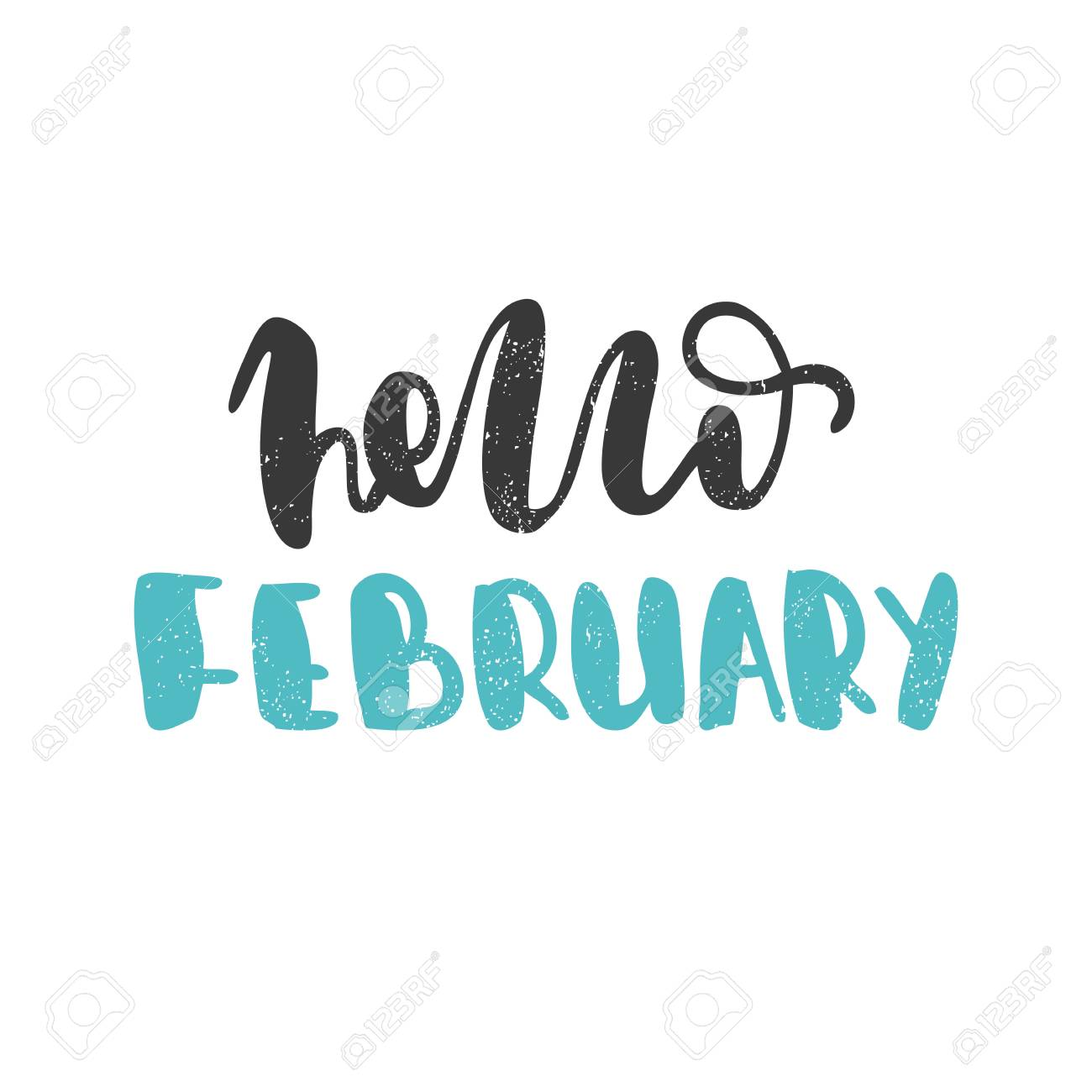 Hello February  Bright multi-colored blue letters  Modern, stylish