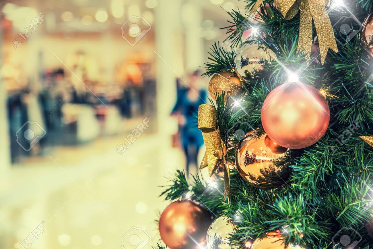Christmas Trees On Clearance.Christmas Tree With Gold Decoration In Shopping Mall Christmas