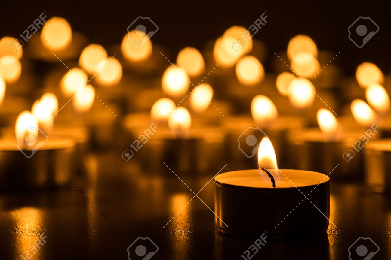 Candles Light Christmas Burning At Night Abstract Background Golden Of