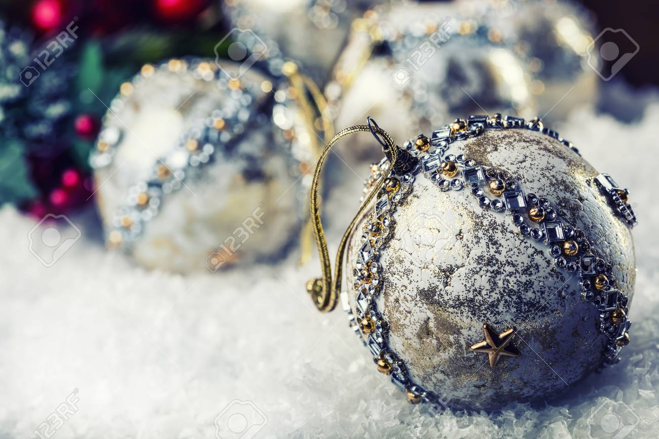 Christmas Time. Luxury Christmas Ball In The Snow And Snowy