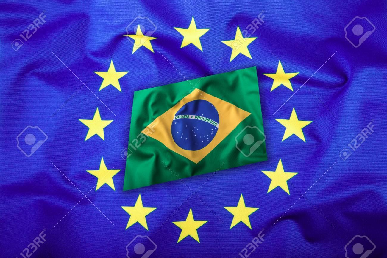 Banderas Del Brasil Y La Unión Europea. Bandera De Brasil Y La ...