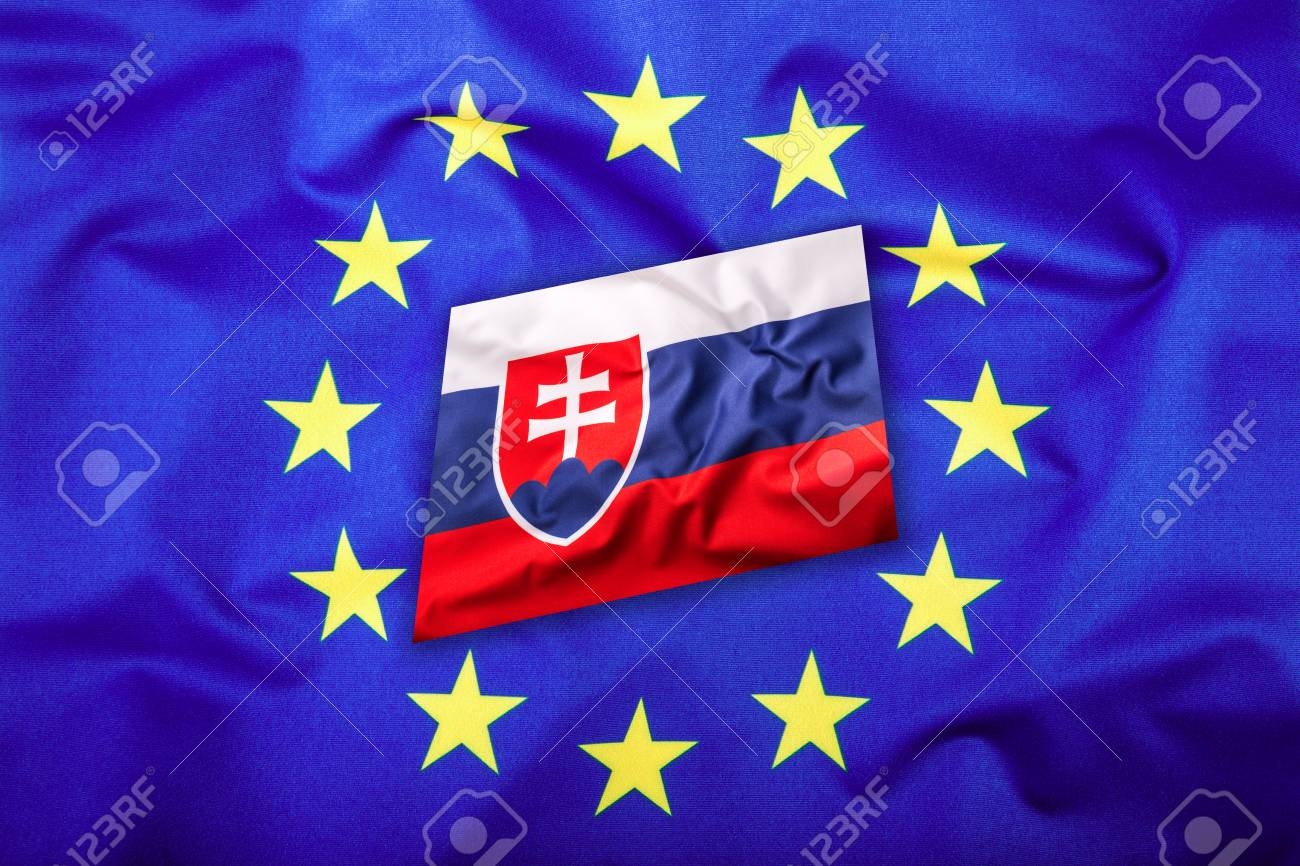 0a21556e4c Flags of the Slovak republic and the European Union. Slovakia Flag and EU  Flag.