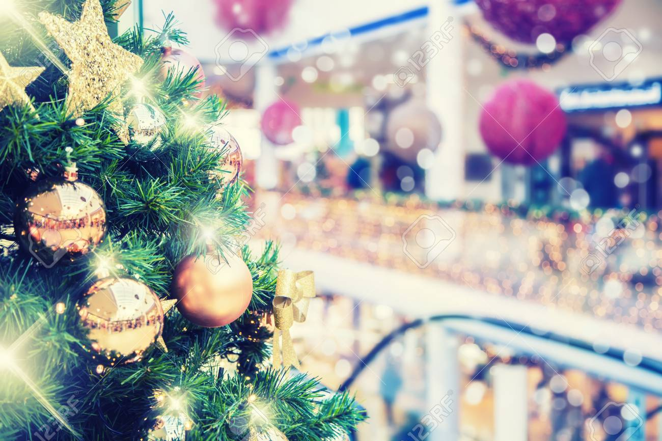 Christmas Tree Clearance.Christmas Tree With Gold Decoration In Shopping Mall Christmas
