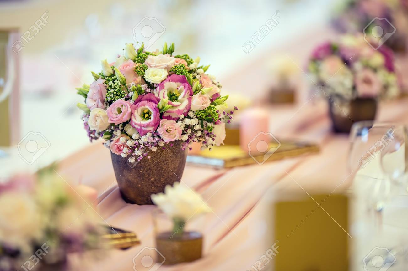 Wedding Table Setting. Beautiful Table Set With Flowers And Glass ...