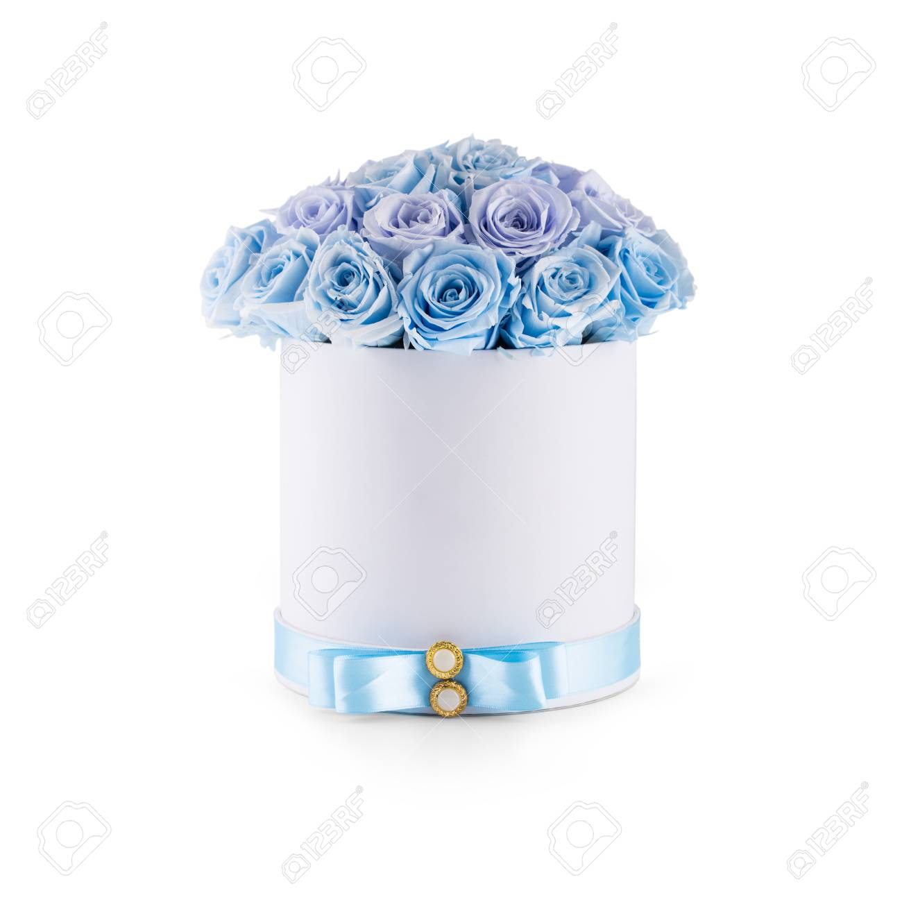 Bouquet Of Blue Flowers Roses In Luxury Gift Box Isolated Of Stock Photo Picture And Royalty Free Image Image 89676821