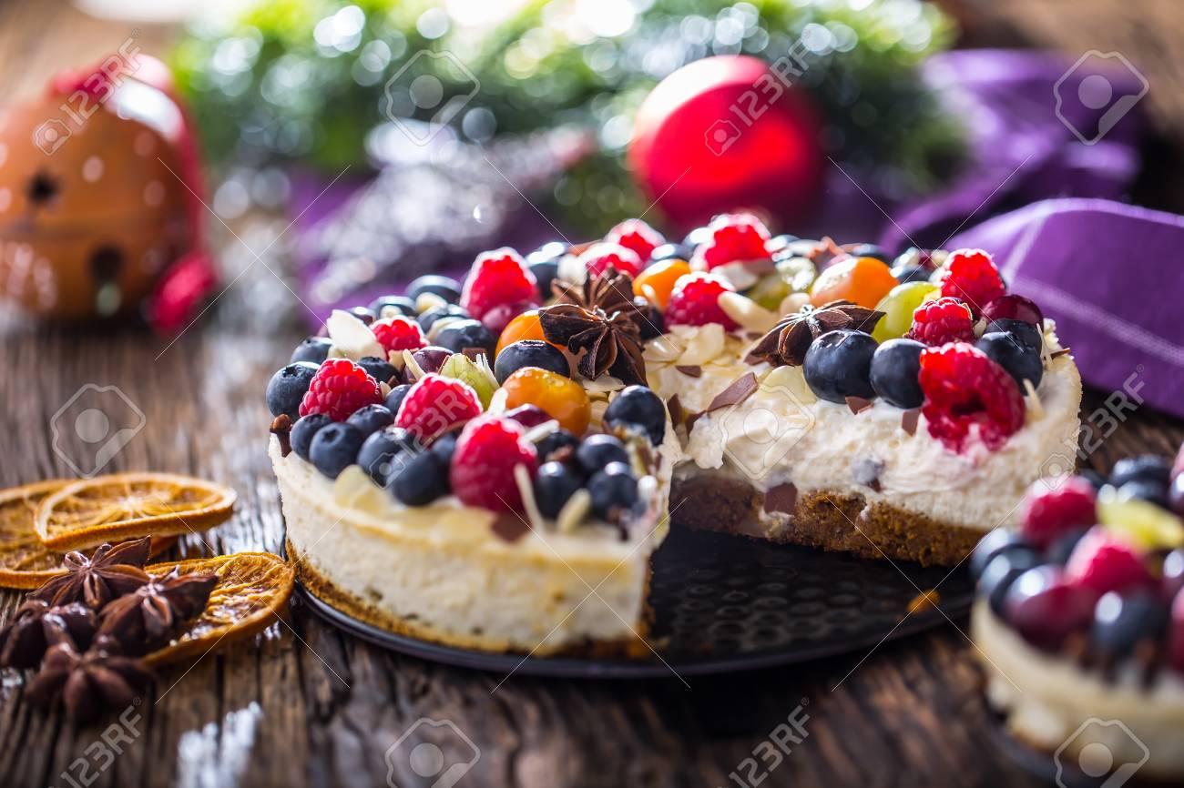 Cheesecake With Fresh Fruit Berries Strawberries Raspberries