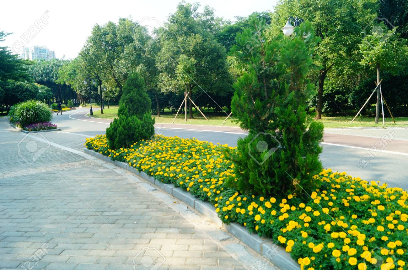 Park green belts and roads