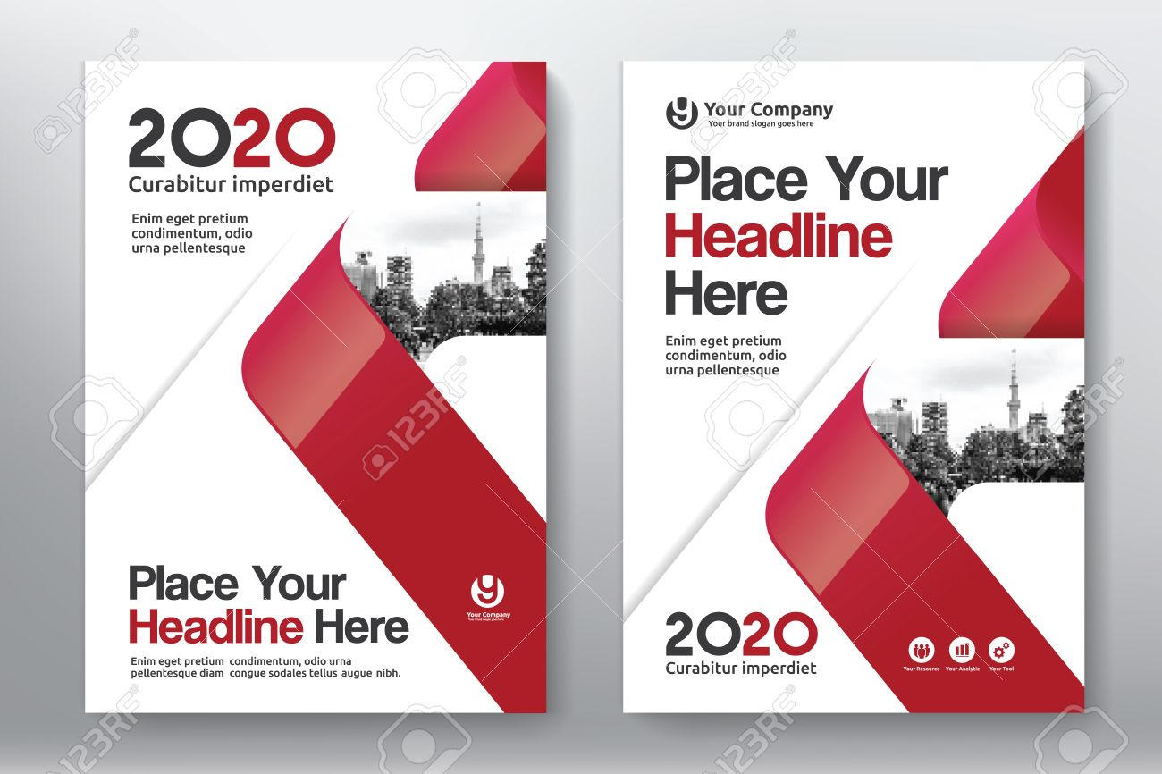 Book color scheme - Red Color Scheme With City Background Business Book Cover Design Template In A4 Easy To