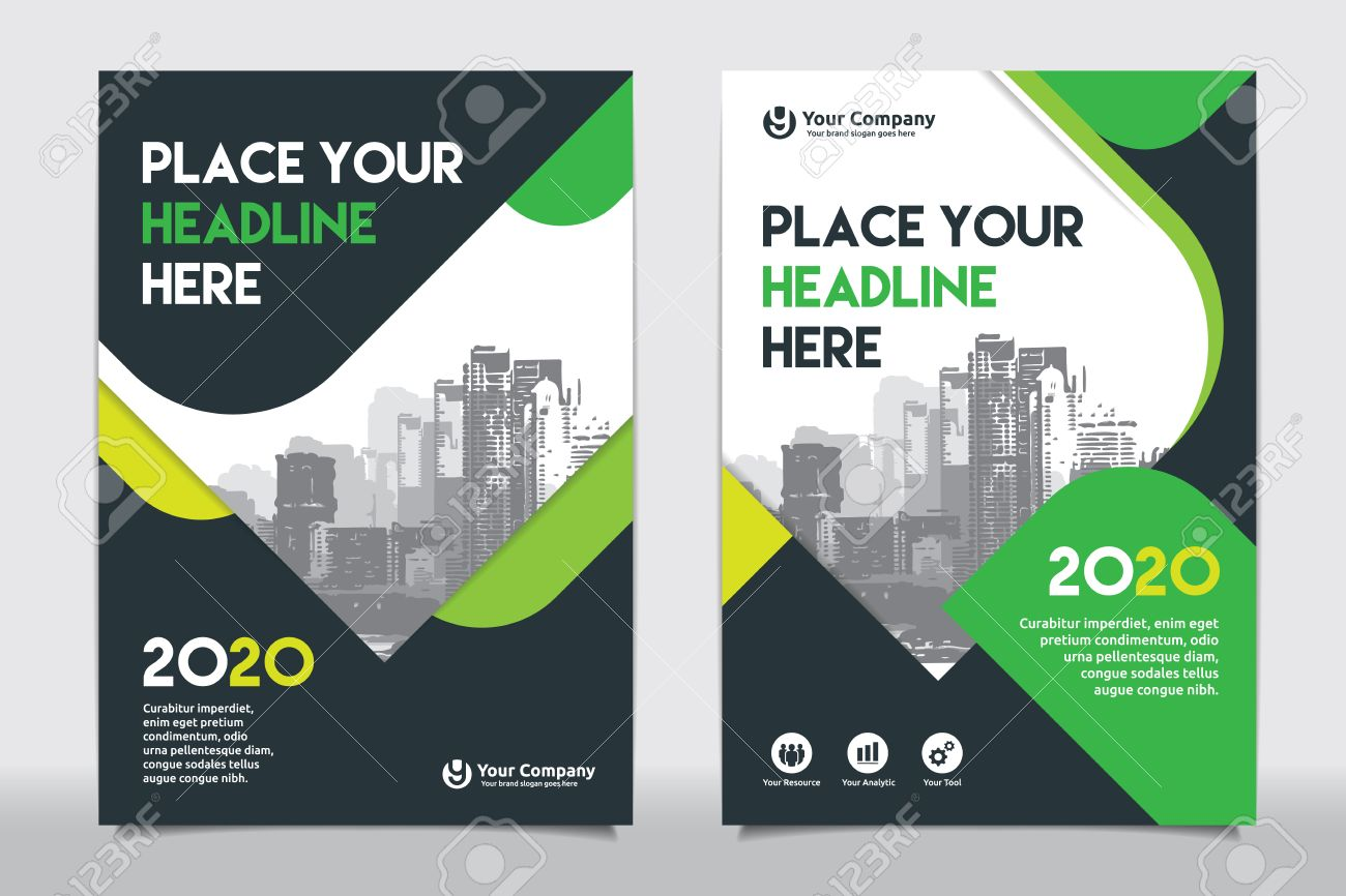 Book color scheme - Green Color Scheme With City Background Business Book Cover Design Template In A4 Easy To