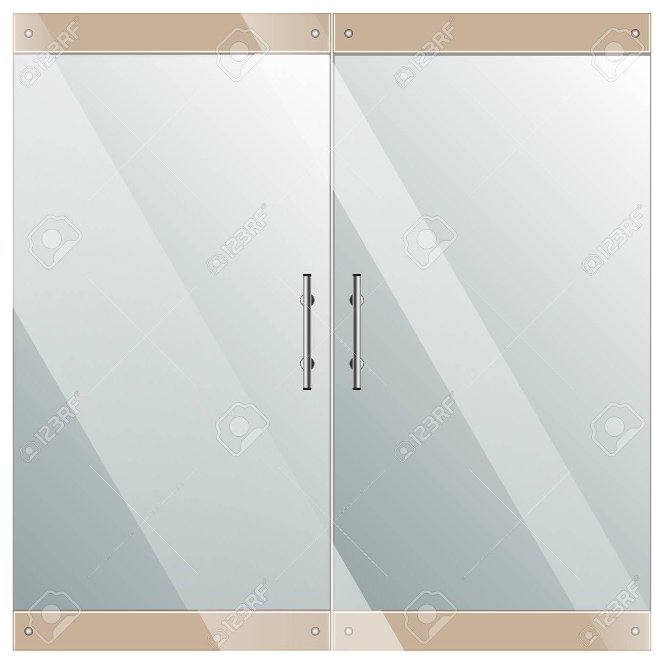Transparente Glastür Isoliert Auf Weißem Hintergrund Lizenzfreie ...