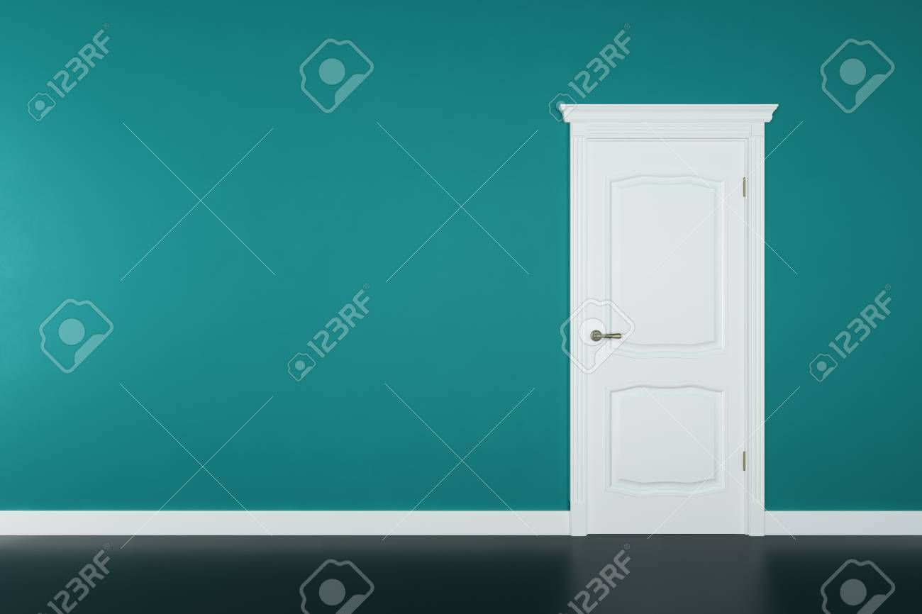 Closed white door on teal wall background - 28774349