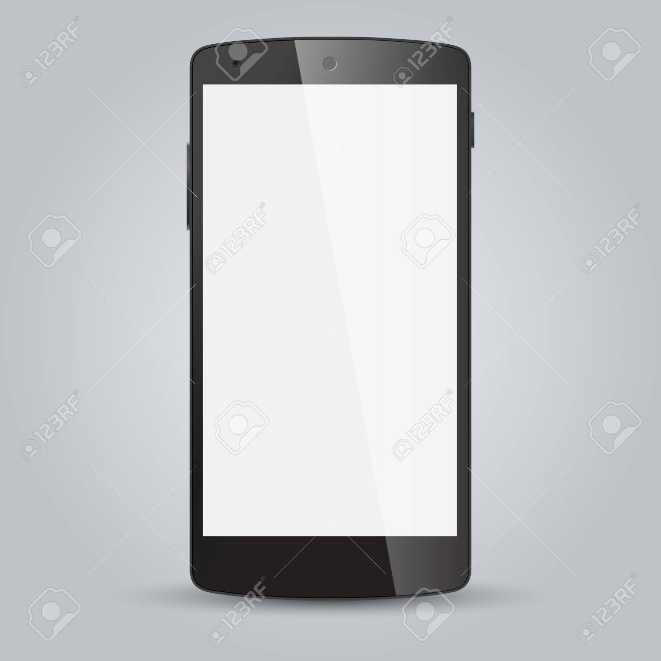 Realistic black mobile phone with blank screen isolated on white Stock Vector - 29113840