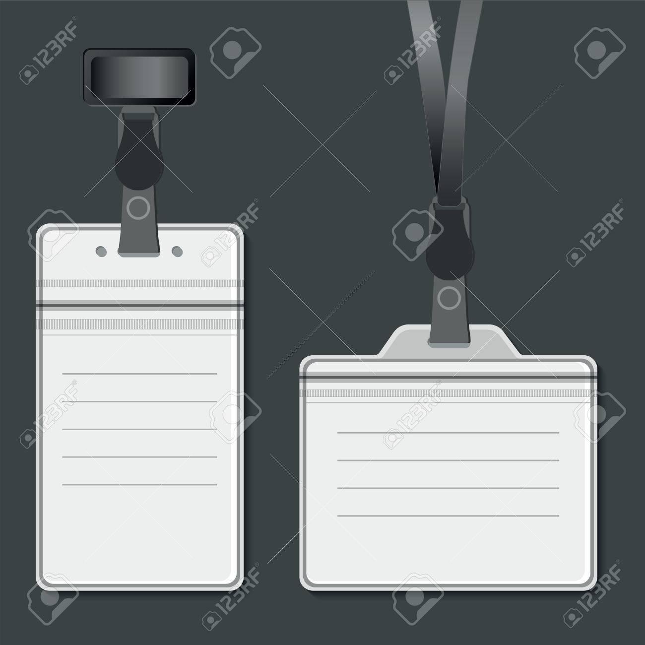Lanyard, Name Tag Holder Retractor End Badge Templates. Stock Photo ...