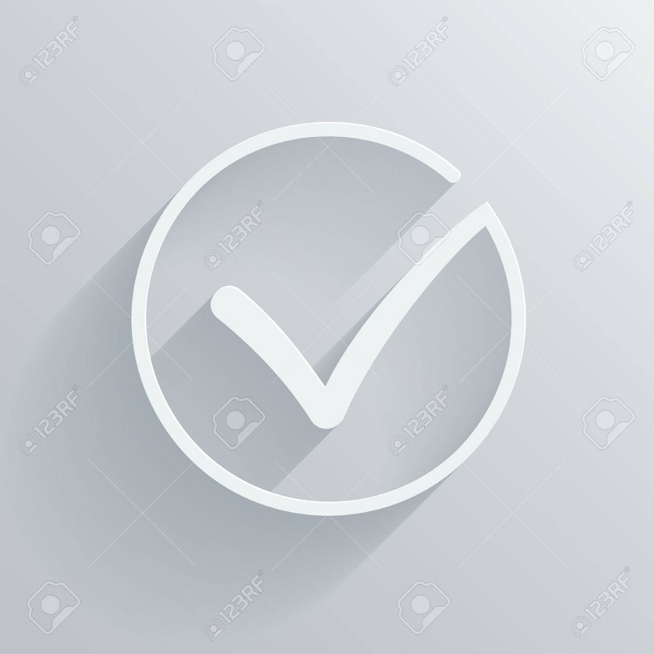 Different Grey And White Vector Check Mark Or Tick In Circle
