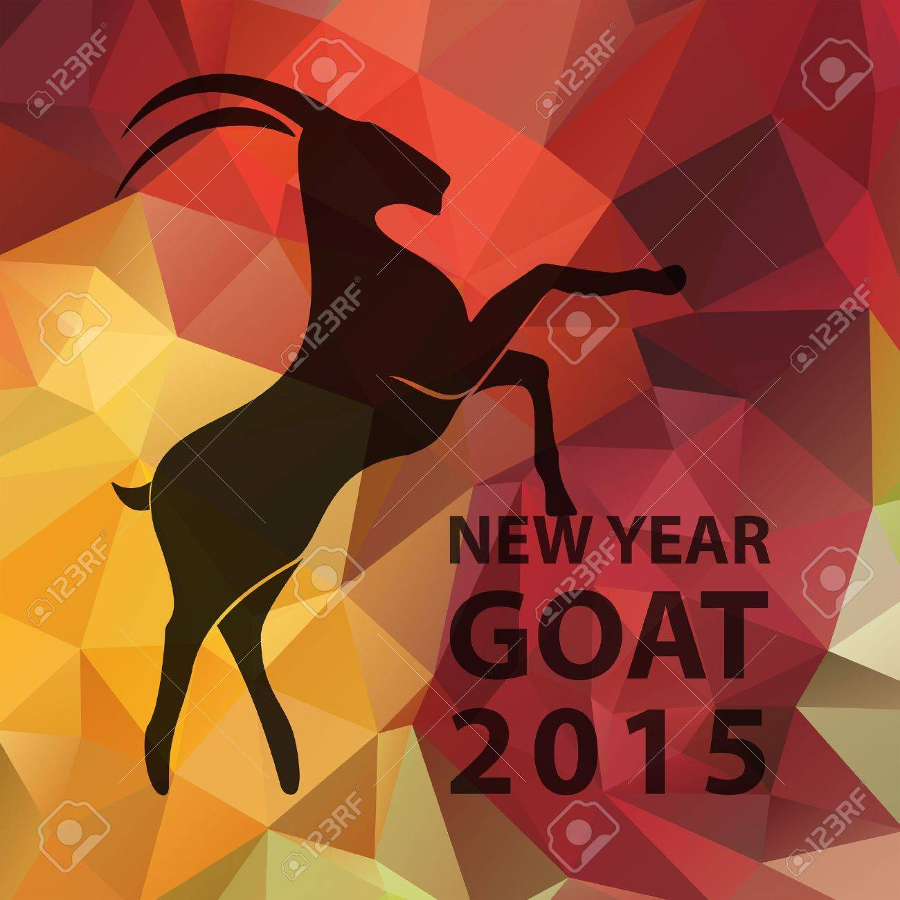 Chinese New Year 2015, goat silhouette on golden red geometric pattern. Vector illustration EPS10 - 34078910