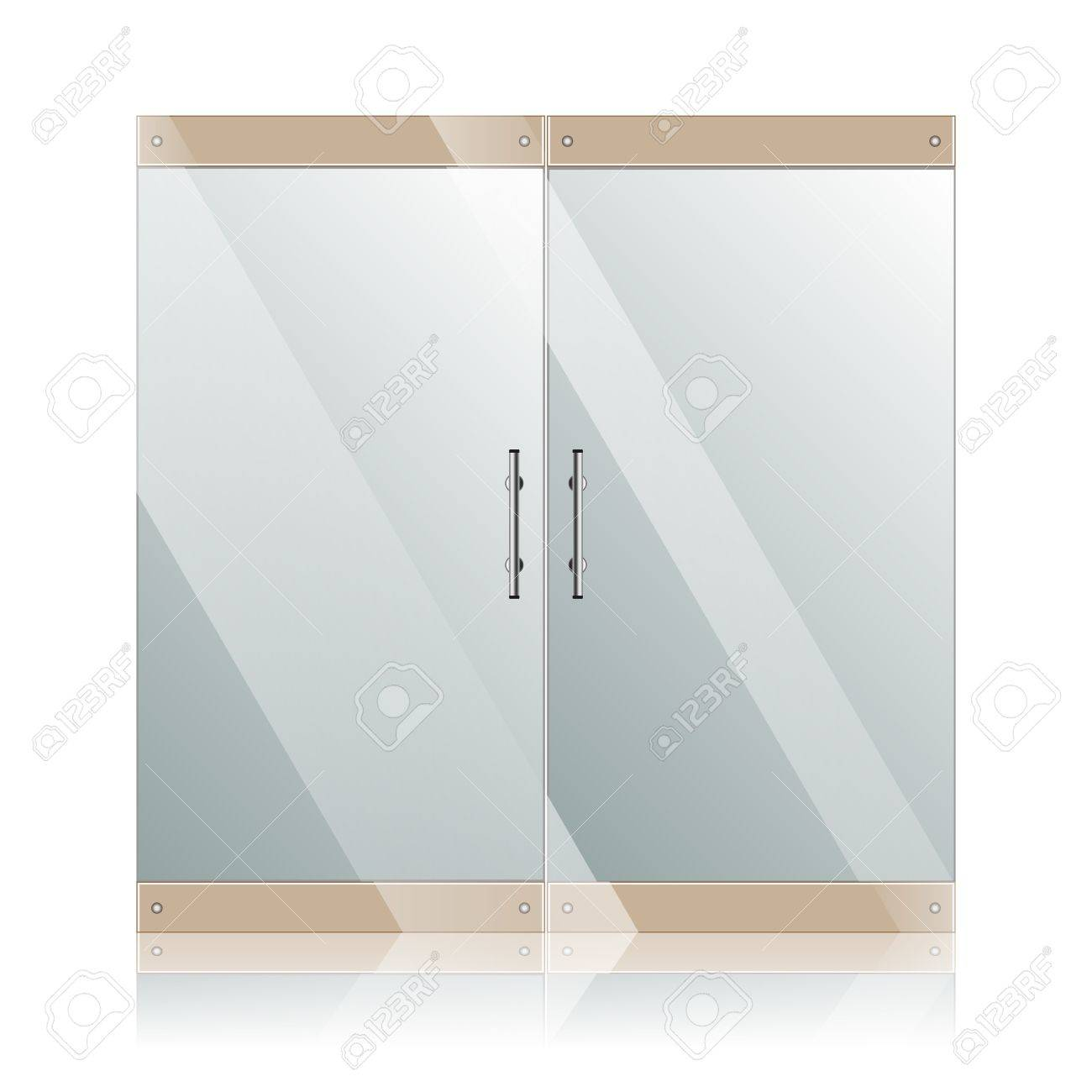 Transparent Glass Doors With Mirror Image In Steel Frame Isolated ...