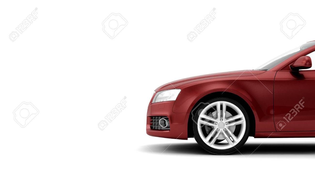 New CG 3d render of generic luxury red detail sports car illustration isolated on a white background - 36246006