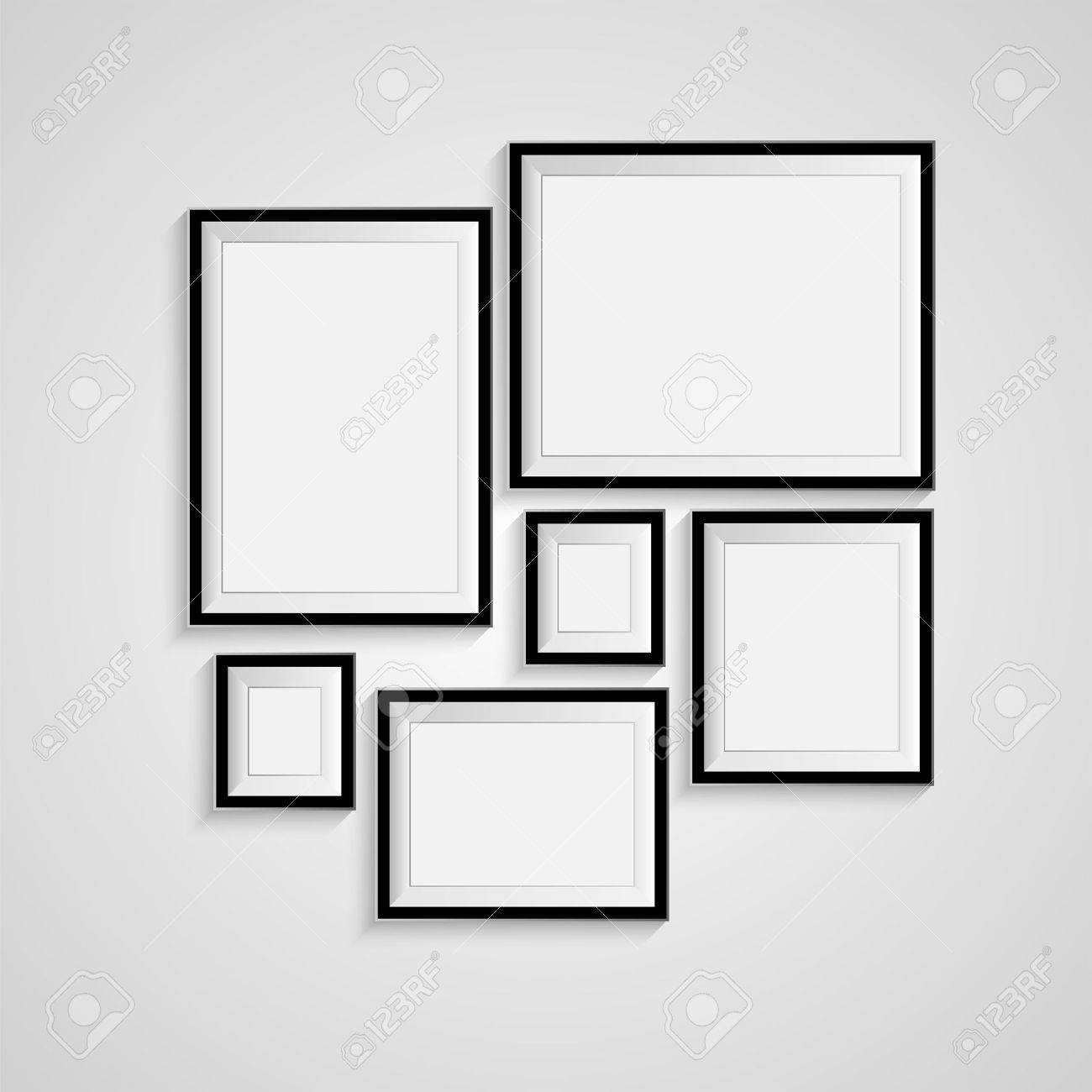 Blank picture frame template set isolated on wall - 36618186