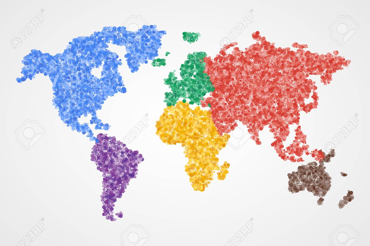Dotted Round Colorful World Map. Abstract Vector Illustration