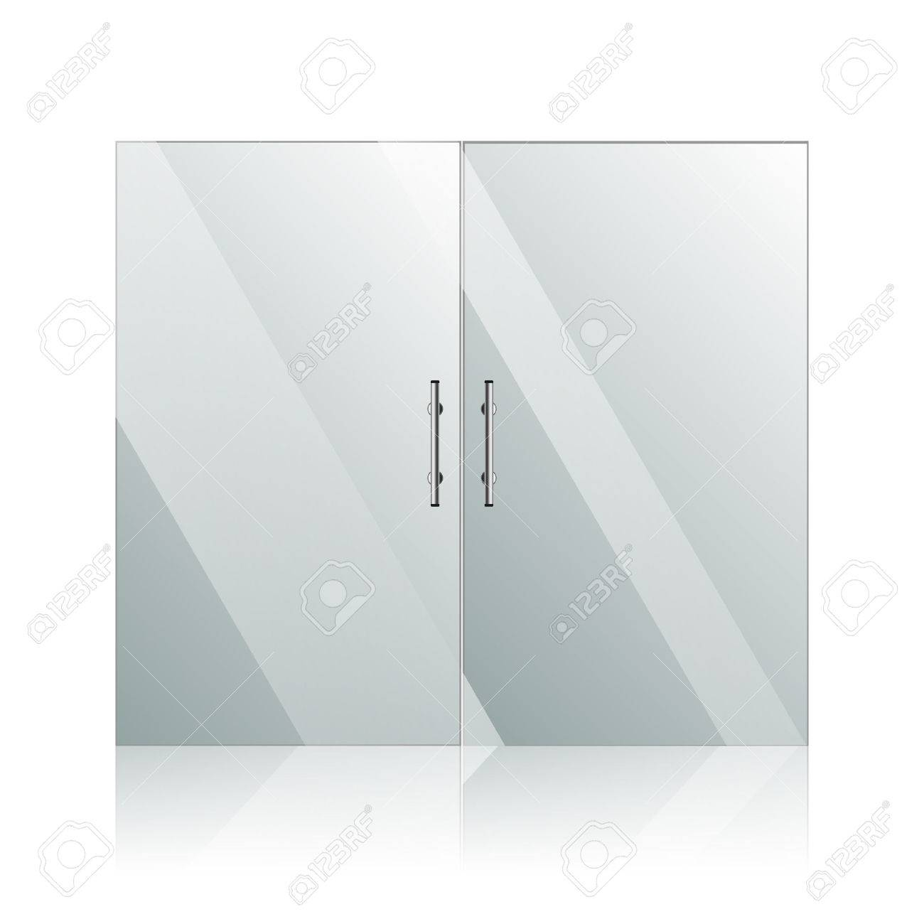 Vector transparent glass doors with mirror image in steel frame isolated on white wall. Architectural interior symbol. EPS 10 - 40064598