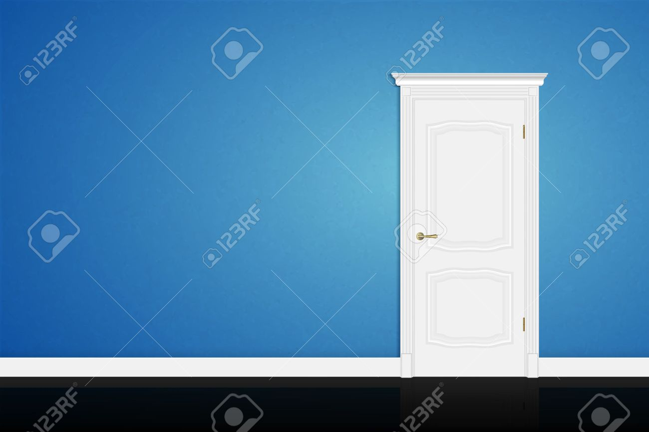Closed white door on blue wall background. Vector - 40064595