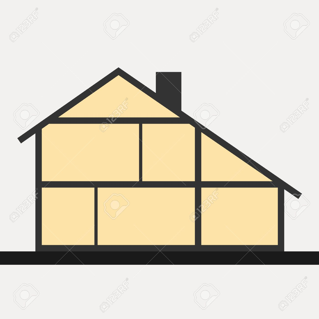 House in cut. Vertical cross section building. Vector illustration - 40064601