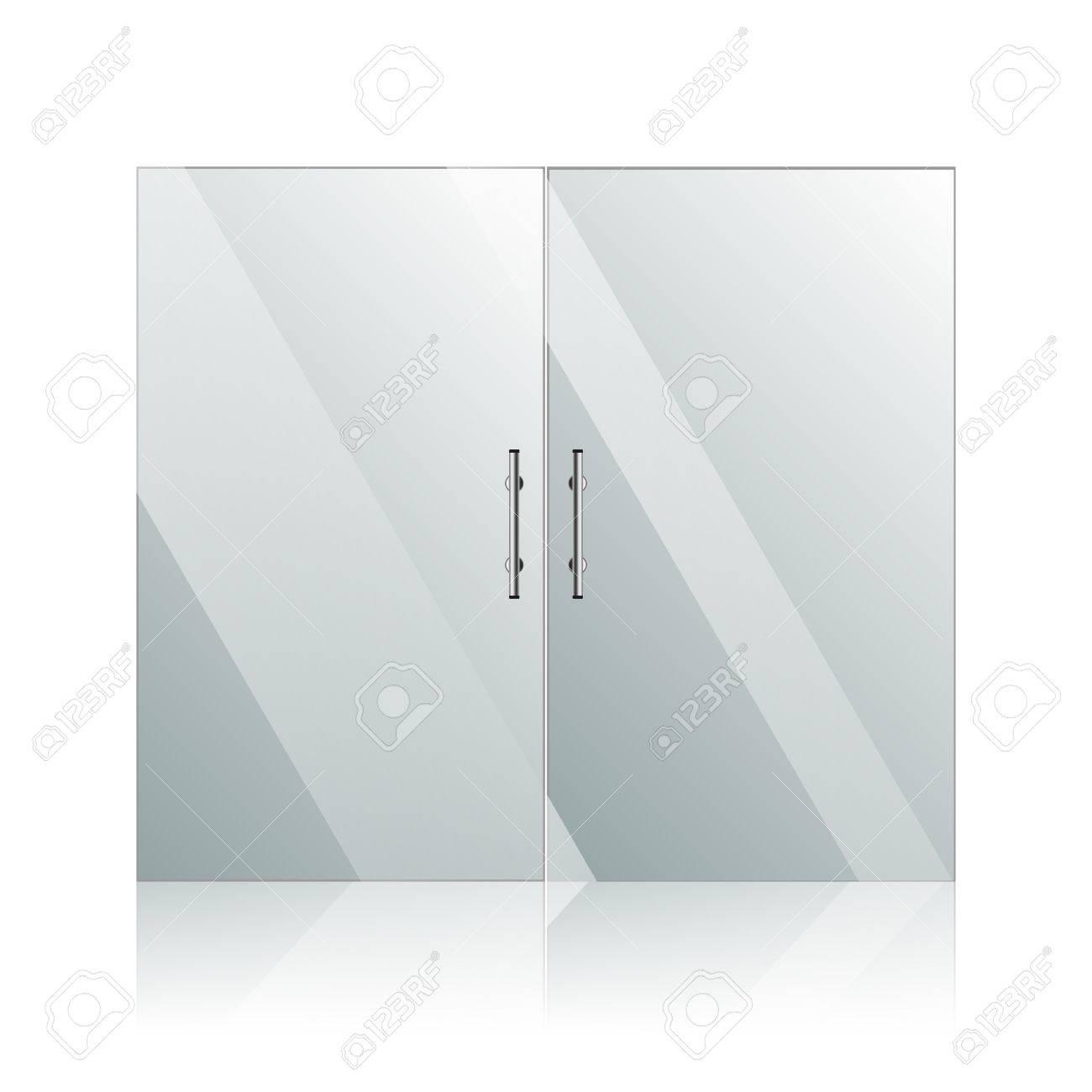 Transparente Glastüren Mit Spiegelbild Im Stahlrahmen Isoliert Auf ...