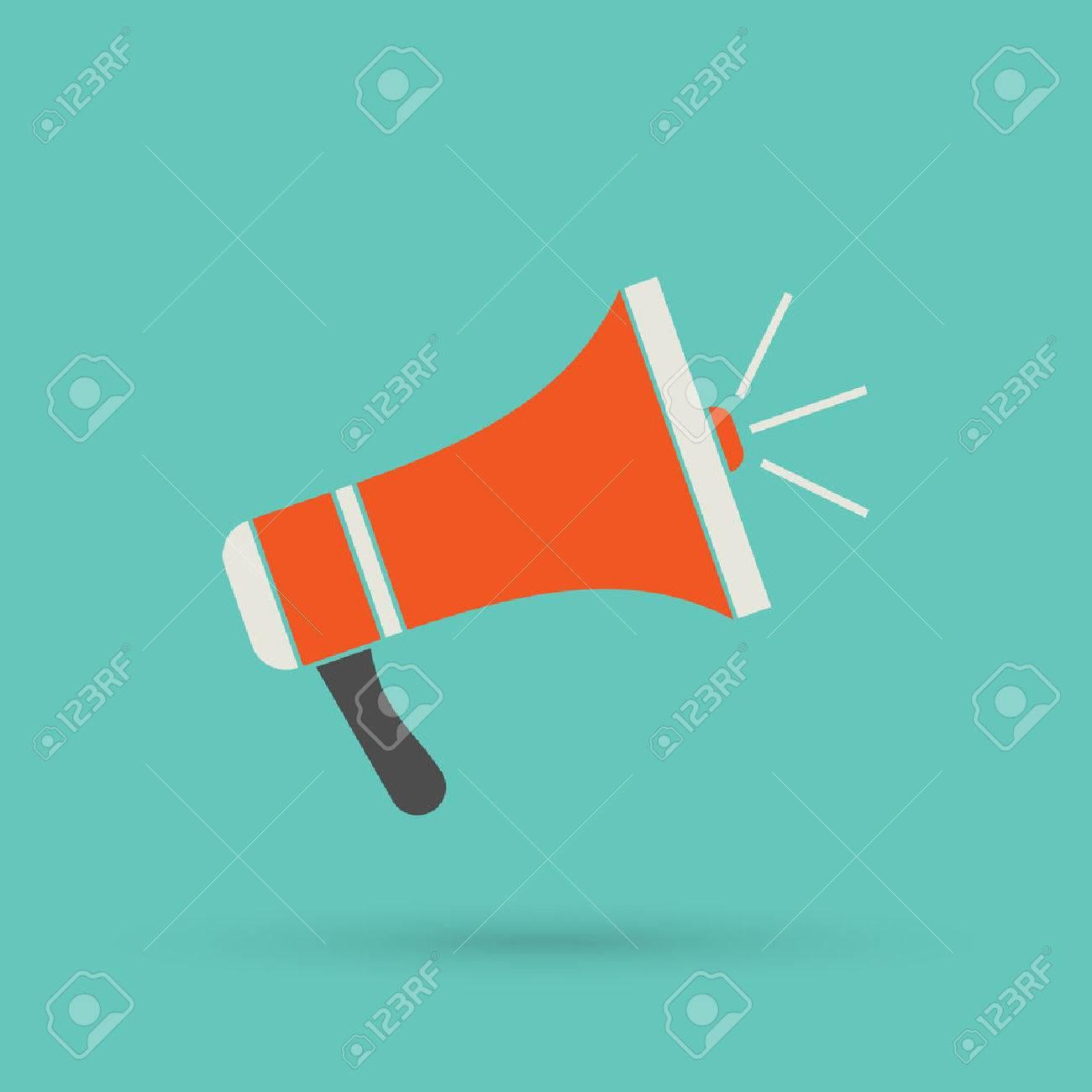 Flat red loudspeaker icon. Vector illustration megaphone - 41137655