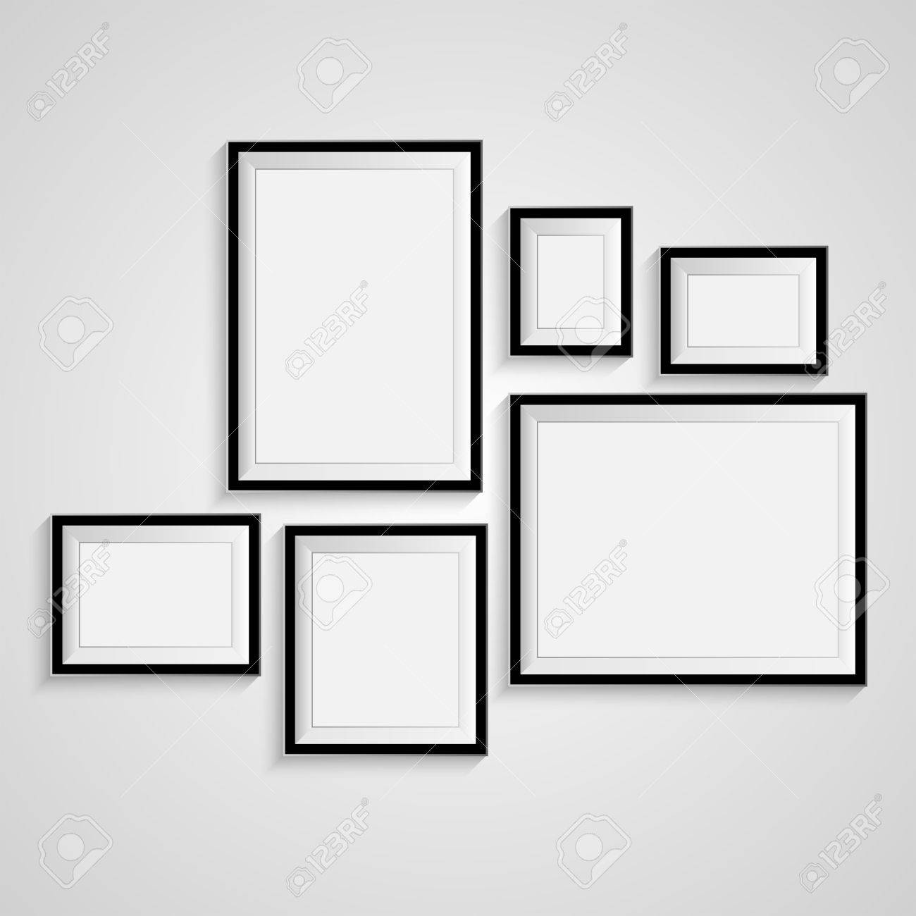 Blank picture frame template set isolated on wall - 43562188