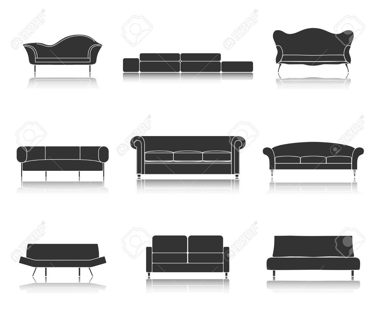 Modern Luxury Canapés Noirs Et Les Icônes De Meubles Des Canapés