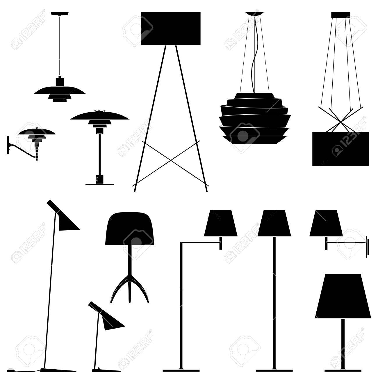 Set of different lamps. Black silhouette of floor lamps, table lamps and sconce. Vector illustration EPS10 - 48861069